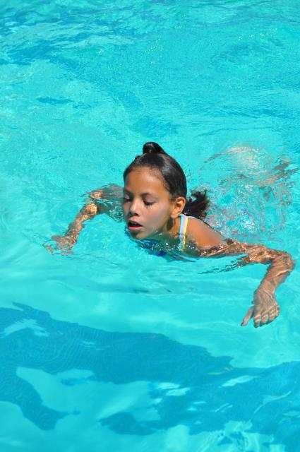 Girl in the pool swimming