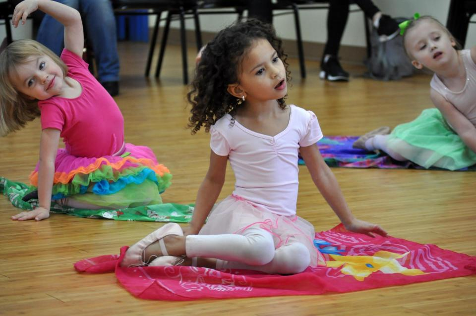 Little girls in dance class