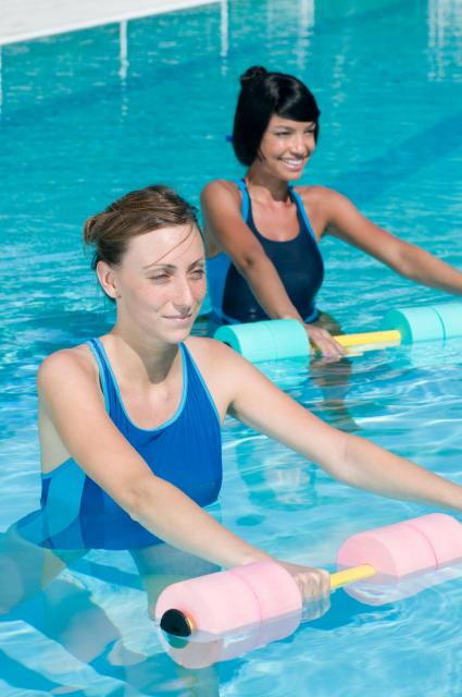 Two woman working out in a pool