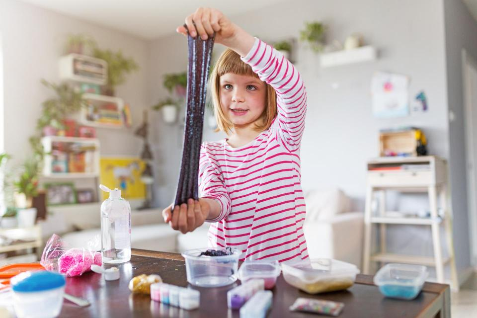 Girl making homemade slime