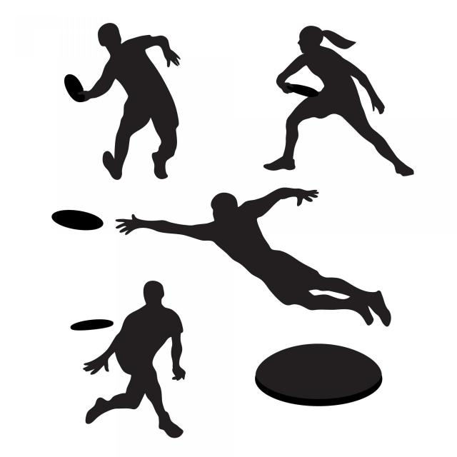 Silhouettes of frisbee players