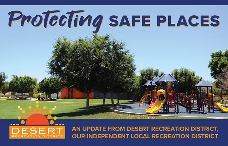 "Photo of park with playground with wording ""Protecting Safe Places"""