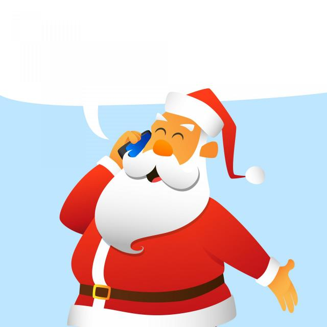Illustration of Santa Claus talking on a cell phone
