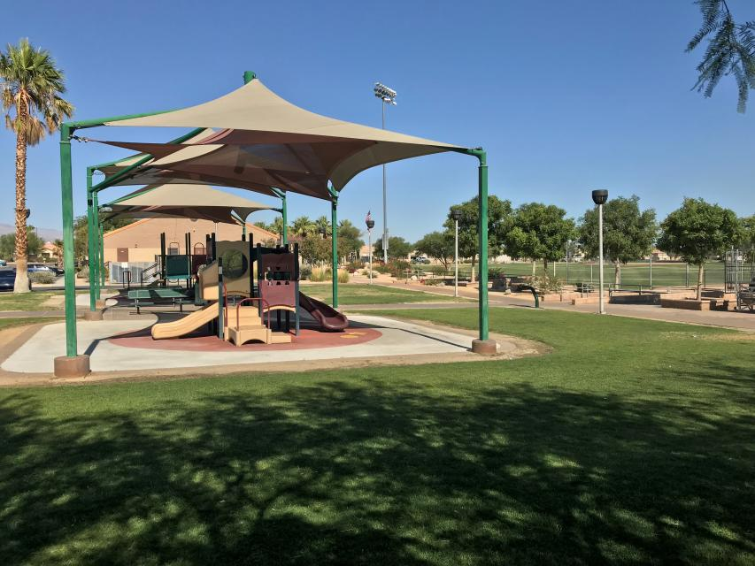Playground equipment in Thousand Palms park